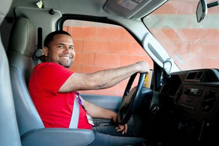 bridgewell man driving a shuttle