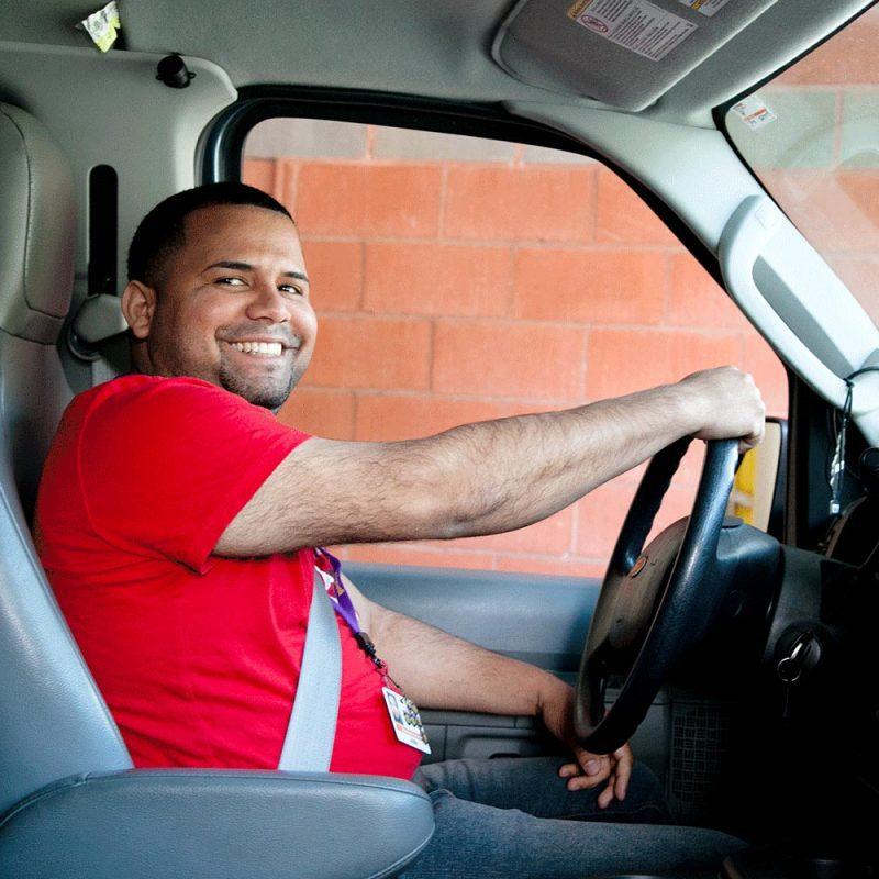 bridgewell man driving a shuttle